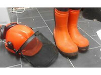 Chainsaw Wellies and helmet
