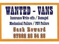 VANS WANTED FOR BREAKING - CASH REWARD!