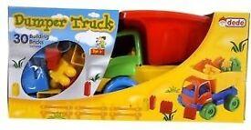 Dumper trucks, Fire Engine. Large and Mini with 30/ 20 building blocks. Bundle £10