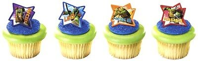 Turtle Cake Decorations (TMNT NINGA TURTLES RINGS PARTY CUPCAKE  CAKE DECORATIONS PARTY FAVORS 24)