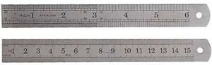 2XSteeless Steel Ruler etched-on Standard metric rule