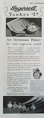 1928 Antique Ingersoll Watch Co Yankee Pocketwatch Insurance Policy for Your Ad