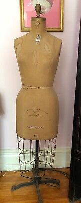 Antique Wolf Body Dress Form Fabric Metal On Wheels Model 1955