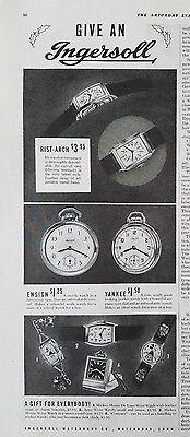 1937 Vintage Ingersoll Rist-arch Ensign Yankee Wrist Pocketwatch Watch Ad
