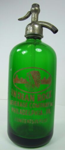 Orig 1950s Indian Rock Beverage Co Seltzer Bottle green glass Philadelphia Pa