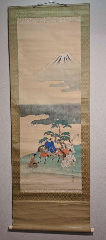 Japanese Hanging Scroll Vtg Kakejiku Kakemono Painting Travelers near MountainA8