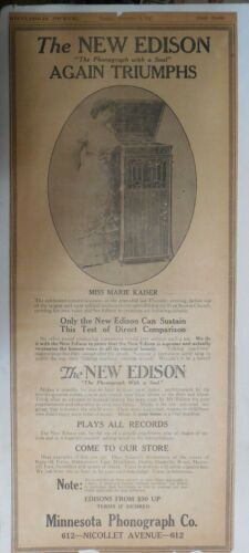 """Edison Phonograh Ad: """"The New Edison Phonograph"""" from 1917 Size: 10 x 22 inches"""