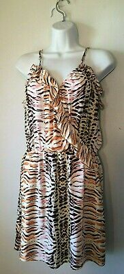 M) Parker 100% Silk Animal Print Ruffle Criss Cross Front Strappy Dress