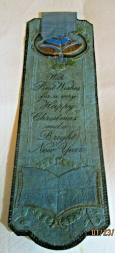Antique Embossed  Blue Bells Bookmark With Best Wishes for very Happy Christmas