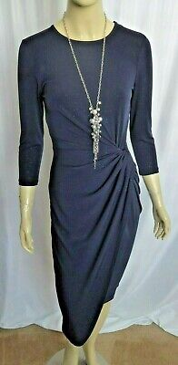 3/4 Sleeve Faux Wrap - FRANK LYMAN 3/4 SLEEVE NAVY SLINKY KNIT FAUX WRAP DRESS SIZE XS (BUST 32 )