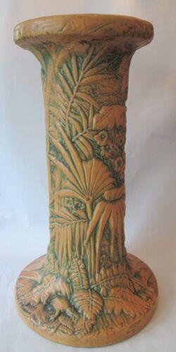 Lg PEDESTAL! Vintage WELLER ART pottery Arts Crafts: MARVO pattern LOVELY