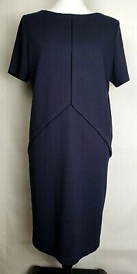 Tom And Linda Platt Navy Blue Shift Size 8 Modest Dress  - Toms And Dresses