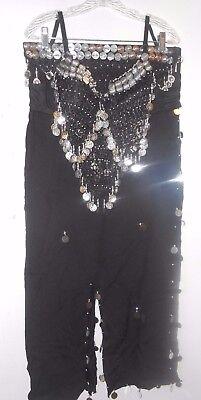 Black Belly Dancer Costume Bra & Skirt Egyptian Moroccan Dancing with Coin ](Black Belly Dancer Costume)