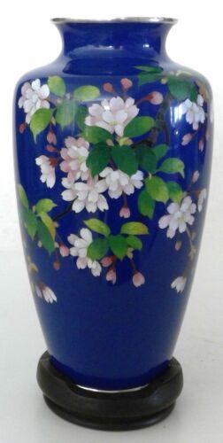 """Vintage Japanese Cloisonné Vase 7 1/4"""" Cobalt Blue w/Cherry Blossoms + Stand"""