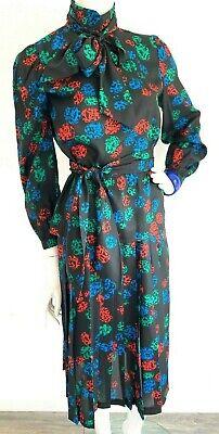Pop Art Dress (Midi Dress Set 80-90s Pop Art Geo Print Pleated Skirt Pussy-Bow Black S 4-6)