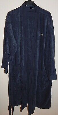 LACOSTE MEN'S COTTON LONG ROBE ONE SIZE BLUE PRE-OWNED AUTHENTIC