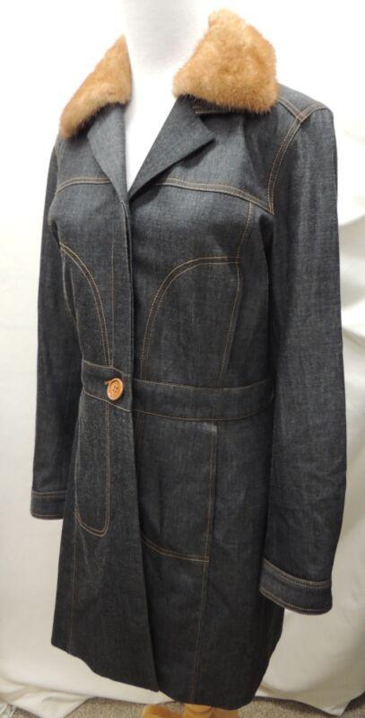 Charles Chang-Lima Long Denim Trench Coat Rabbit Fur Collar Size 8 M