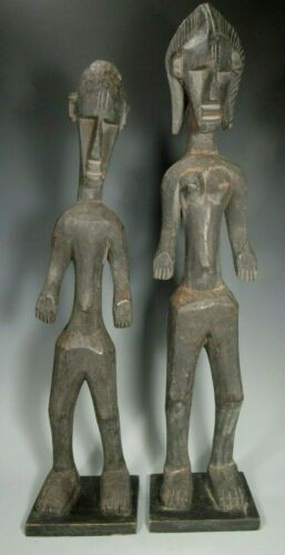 "Pair African Mali Bamana Standing Couple Figures  28 1/2"" High ca. 20th century"