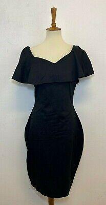 Unique Vintage Womens Black Ruffle Top Bodycon Dress Size XL