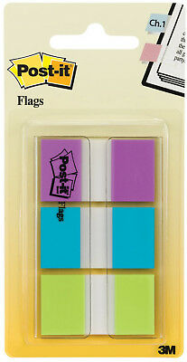 3m Post It Flags .94 X 1.7 24mm X 43.2mm Writable Purple Blue Green 60pk