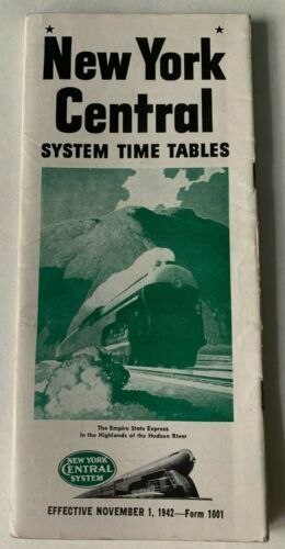 Vtg Nov 1942 New York Central Railroad Timetable Booklet brochure WWII era NYC
