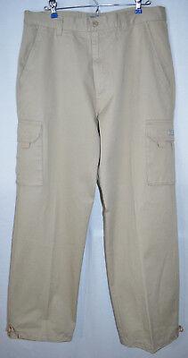 - PJ Mark Cargo Pants Flat Front Cotton 6 Pockets Cinch Cord Leg Hem Men's W34 L31
