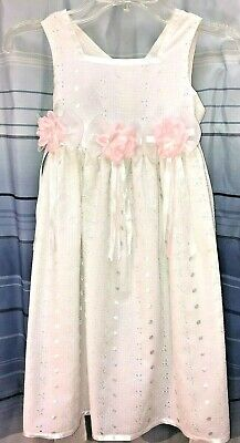 Bonnie Jean Girls White Embroidered Lined Sleeveless Dress Pink Flower Girl Sz 5 Bonnie Jean Embroidered Jeans