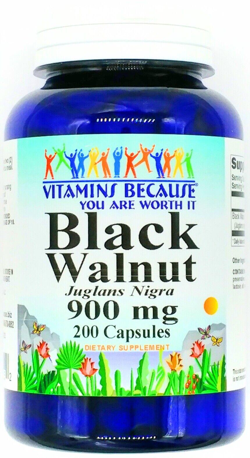 200 Capsules 900mg Black Walnut Hull Herbal Parasite Bacteria Cleanse VB