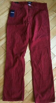 CHAPS 5 Pocket Cord Men's Straight Fit Red Pants Size 34X34 Cotton  5-pocket-cord