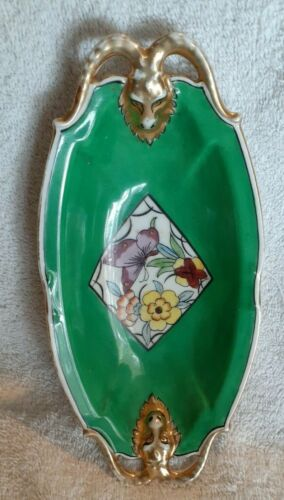 Vintage Noritake Hand Painted Celery Relish Dish Japan Floral and Butterfly Gold