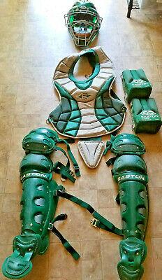 EASTON BASEBALL CATCHERS GEAR GREEN AGES 12-15 HELMET CHEST LEG SHIN KNEE