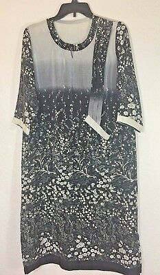 Custom Design Tunic Dress Asian Inspired Size Medium Black Gray Long Split -