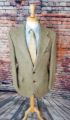 Norman Hilton ENGLAND 40L Green Herringbone TWEED WOOL Sport Coat Jacket Blazer