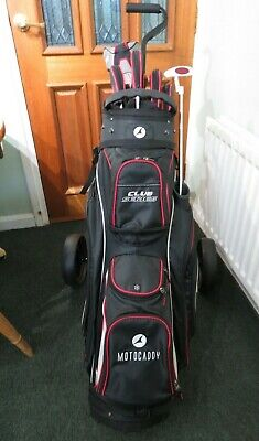 set of 11 right handed golf clubs, golf bag and trolley