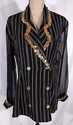 Cristina Fashion Blazer Vtg 90s Sz L Sequin Trim Sheer Sleeves Hip Hop Gangster