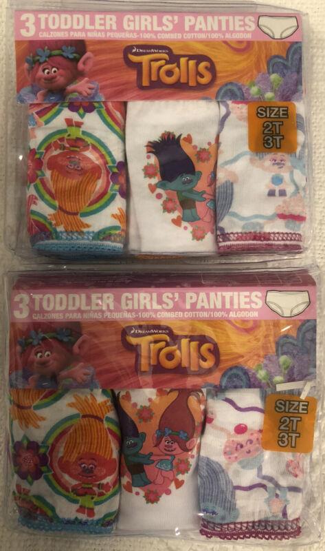 LOT OF 2 Toddler Girl's Size 2T/3T Trolls Panties Underwear Set- 6 Panties Total