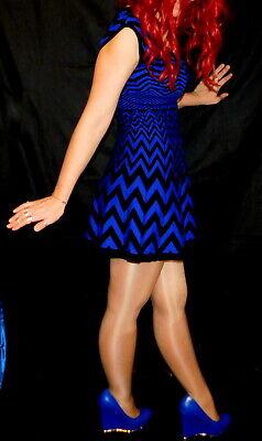 Candies, Sexy Blue, Stretch Knit Mini Dress, Black Accent Tank, XS Accent Mini Dress