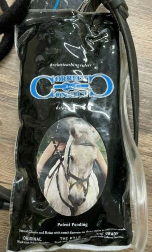Correct Connect Reins & Gloves - Black - 57 Inches/Ladies Small