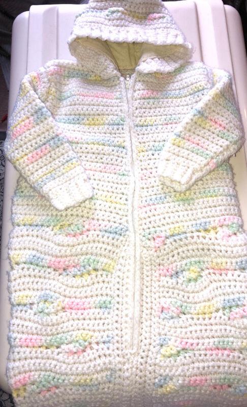 "Adorable Handmade Crocheted Hooded Newborn Baby Knit Bunting Unisex 28 X 14"""