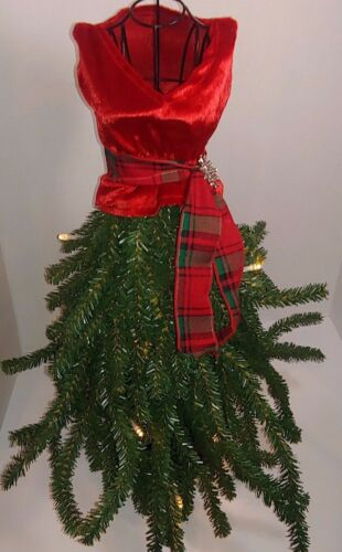 New Boutique Dress Form Mannequin Table Top Christmas Tree red NWT lights