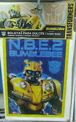 25/50 pcs Bumblebee Transformers Birthday Party Favors Treat Loot Candy Bags