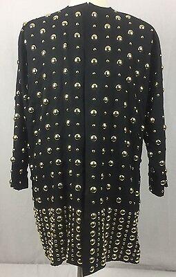 Vtg 80's Bonnie Boerer Silk Blend Open Front Jacket Black Gold Studded Large
