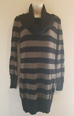 French Connection Women Black/Green Color Block Cowl Neck Sweater Dress Size Med