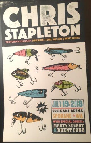 🔥 CHRIS STAPLETON Spokane WA 2018 SCREEN PRINT LTD CONCERT POSTER fly fishing