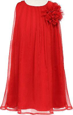 Flower Girl Dress Chiffon Pleaded with Flower Red CA CJ104 - Flower Girl Dresses With Red