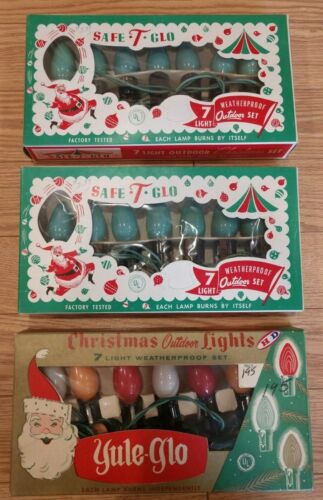 Vintage Holiday / Christmas Lights. Lot of 3 sets in Original Boxes. Yule Glo