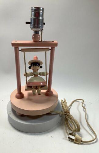 "Vintage Nursery Pink Lamp Wooden Swinging Girl No Shade 11.5"" Tested-Works"