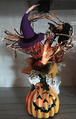 Fiber Optic Halloween Tree With Pumpkin Base Lights up Ghosts Fall Crow 4 Colors