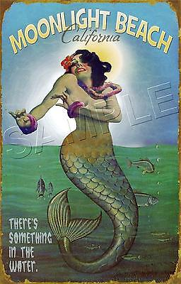 MERMAID in the MOONLIGHT Sea Nymph Ocean BEACH Vintage POSTER *CANVAS* Art PRINT