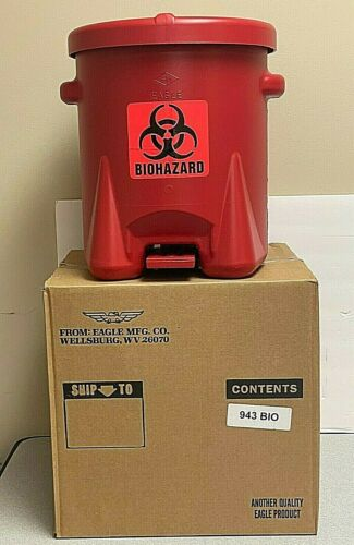 New EAGLE 943BIO Biohazard Step-On Waste Container 6 Gal.